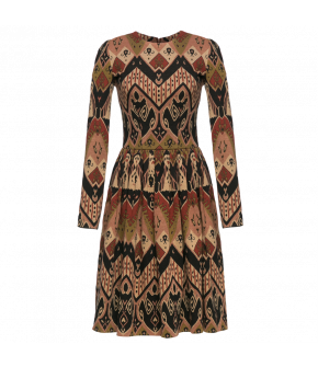 "Long-sleeved dress with full skirt and striking jacquard knitted pattern Lena Hoschek ""Nomad Dress black rug"""