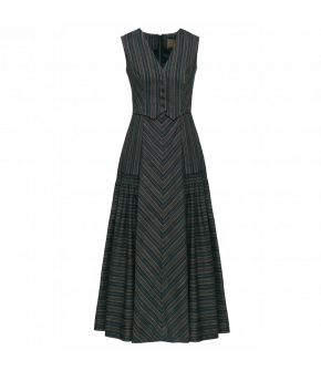 Long sleeveless dress with a flared skirt featuring hand gathered panels. The top part of the dress is a V-neck waistcoat with buttons down to the waist. Back zip fastening.