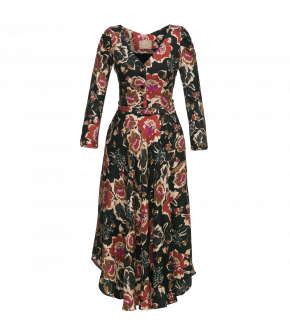 "Flowing longsleeved floral dress with rounded hem by Lena Hoschek ""Poet Dress black"""