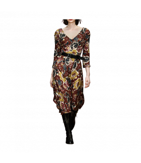 "Longsleeved floral print dress with V-neckline and rounded hem by Lena Hoschek ""Poet Dress burnt"""