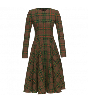 "Longsleeved tartan dress with circle skirt Lena Hoschek ""Poker Dress"""