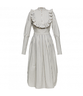 Midi-length dress made from light striped cotton featuring full sleeves with extralong cuffs that fasten with a long zip. The blousestyle top has a small standup collar and a voluminous ruffleedged bib detail with pretty motherofpearl buttons down the fro
