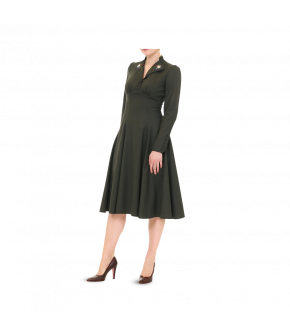 Dark-green long-sleeved dress with embroidered collar. This midi-length dress features fabric-covered buttons at the sleeve and at the front below the collar. The top is fitted and flows into the looser-fitting skirt. Supplied without the belt.