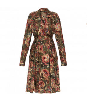 Longsleeved blouson-top shirt-dress in olive green with a rose print. This flowing style features shoulder epaulettes, a lapel collar and buckles at the waist to adjust the fit.  With patch pockets at the bust and on either side of the skirt.