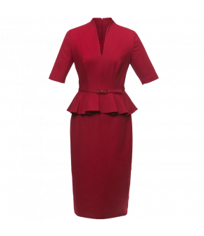 """Lena Hoschek Sheath Dress """"Vivian"""" with shawl collar in the colour cherry for the autumn/winter 2017/18 Dollhouse collection!"""