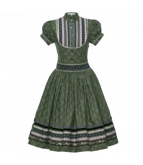 """Traditional Lena Hoschek Wally dress with ribbon details in the colour """"Lärche"""" for the autumn/winter 2017/18 collection. Shop now online!"""