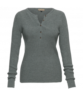 "Long sleeved Henley shirt by Lena Hoschek in grey ""Bobby knitted top smoke"""