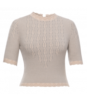 Enchanté Knitted Top porte bonheur in grey and blue stripes by Lena Hoschek - SS21 summer collection - Antoinette's Garden