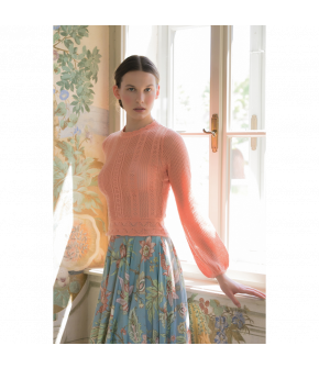 Catherine Skirt indienne ciel in blue with flowers by Lena Hoschek - SS21 summer collection - Antoinette's Garden