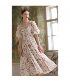 Angélique Dress toile in cream with red flowers by Lena Hoschek - SS21 summer collection - Antoinette's Garden