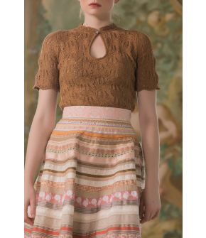 Choupette Knitted Top marron in brown by Lena Hoschek - SS21 summer collection - Antoinette's Garden