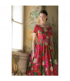 Ma Chère Dress short dahlia red with flowers by Lena Hoschek - SS21 summer collection - Antoinette's Garden