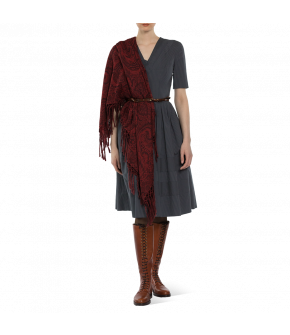 "Square shawl in rich red ""Hawelka"" from Lena Hoschek - Artisan Partisan - Autumn/winter collection AW20/21"