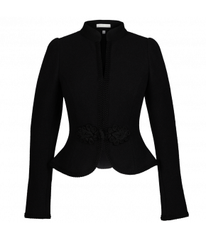 "Traditional jacket with passamenterie fastening ""Franz-Josef"" from Lena Hoschek Tradition in black - autumn/winter collection AW20/21"