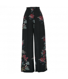 Patterned wide-leg pants with slash pockets. Featuring a narrow waistbelt. The oriental floral pattern adds a touch of extravagance to these elegant trousers.