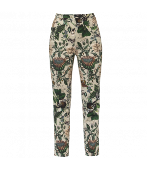 Botanical print patterned high-waist trousers. This slim fitting style features side slash pockets and fastens with a zip fly and top button. The lavishly patterned fabric has added stretch for a better fit. Lena Hoschek designed the botanical pattern spe