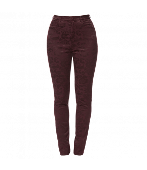 Slim-fit pants made of Damask fabric. This high-waisted style features slash pockets and a zip and button fastening at the centre front.