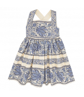 Petite Fleur Mini Me Dress artisan bleu with flowers by Lena Hoschek - SS21 summer collection - Antoinette's Garden