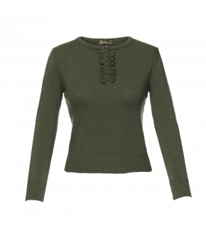 Green round-necked pullover with frill detail along the front button placket. Featuring fabric covered buttons and ribbed cuffs and hem. This sweater has slightly cropped ¾-length sleeves.