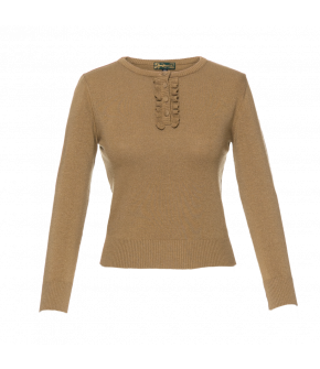 Three-quarter sleeved pullover in a sandy golden shade. Featuring a short button placket with fabric-covered buttons. There are frills down either side of the button placket. The cuffs and hem are ribbed.