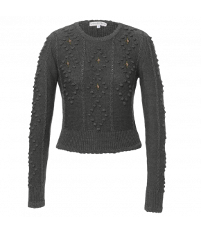 Short knitted sweater with long sleeves, lightly scalloped edge and ribbed cuffs and hem. This fitted style made from merino sits just below the waist and has a round neckline and cable knit detailing. Decorated with pretty embroidered roses.
