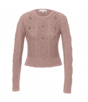 Short, fitted woollen pullover. Made from soft merino wool, this long-sleeved style features a round neckline and cable knit pattern. Decorated with embroidered roses and featuring a ribbed hem and sleeve cuffs.