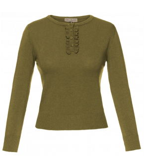 Moss green Lizz pullover with frilled-edge button placket by Lena Hoschek