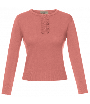 Low-key rosa colour pullover Lizz with frilly button placket by Lena Hoschek