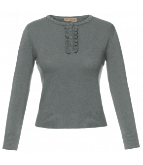 "Grey pullover ""Lizz"" with frilly button placket by Lena Hoschek"