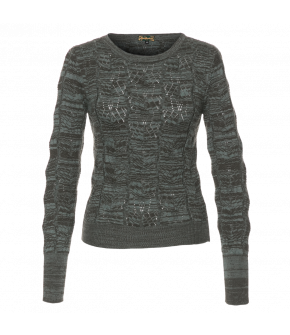 Green marled lace-knit pullover with a rounded neckline. The knit pattern is made up of geometric leaf shapes. Ribbed cuffs and hem.