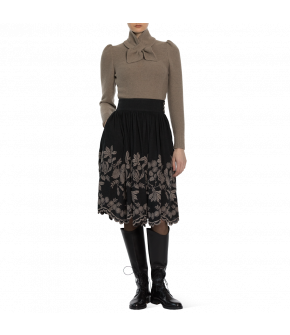 """Babuschka"" skirt in black with floral print by Lena Hoschek - Artisan Partisan - Autumn/winter collection AW20/21"