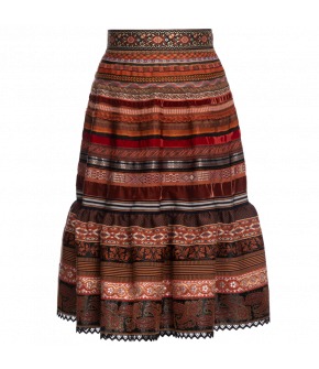 "Volant ribbon skirt ""henna"" by Lena Hoschek - Artisan Partisan - Autumn/winter collection AW20/21"