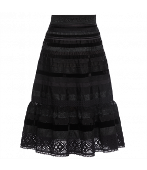 "Volant ribbon skirt ""shades of black"" by Lena Hoschek - Artisan Partisan - Autumn/winter collection AW20/21"