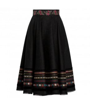 "Black ""Dradi"" skirt from Lena Hoschek Tradition with embroidered waistband - autumn/winter collection AW20/21 - Artisan Partisan"