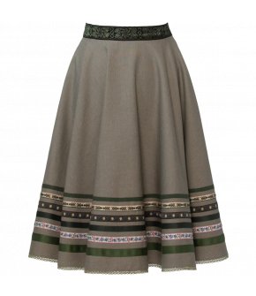"Flared skirt with ribbons in shades of green and brown by Lena Hoschek Tradition ""Dradi Skirt summer freshness"""