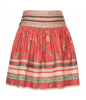 Feli Skirt in red with flowers - SS21 summer collection - Lena Hoschek Tradition