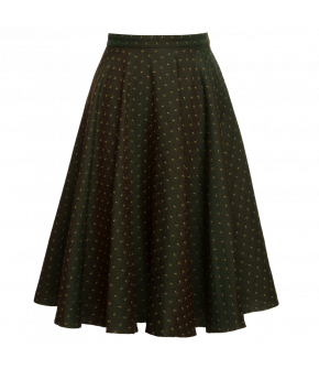 Circle skirt with high waistband and concealed side pockets. Made from wool and silk with a subtle pattern. Fully lined.