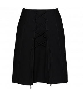 A-line skirt with lace-up detail at the front and side zip fastening.