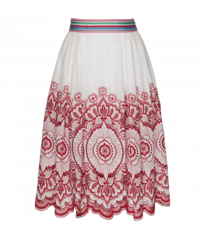Lena Hoschek skirt with embroidery for SS18 Kiss me Piroschka collection. Side zip fastening.
