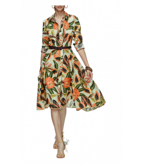 Belize Dress in cream with papaya pettern by Lena Hoschek - Tutti Frutti Spring / Summer 2019