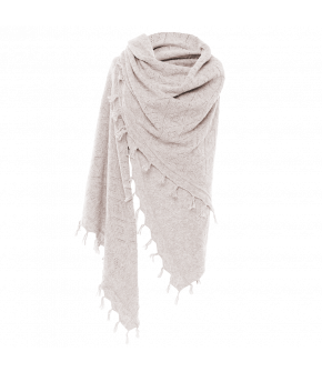 Soft white shawl with an Ajour knit pattern and tasselled trim.
