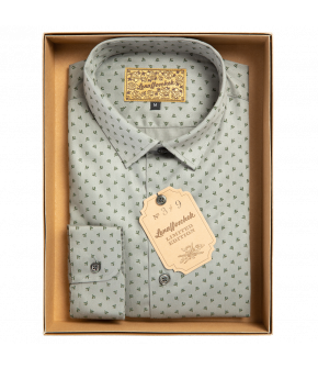 Sage green slim-fit men's shirt from Lena Hoschek with dark green accents