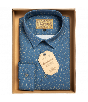 Slim-fit dark blue men's shirt from Lena Hoschek with full-length button placket in front