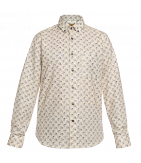 This Lena Hoschek men's shirt in creme with blue accents is slim-fit with a button-down collar