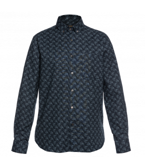 Slim-fit, long-sleeved button-down men's shirt from Lena Hoschek in light and dark blue