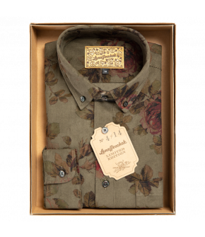 Olive-green slim-fit pinwale corduroy men's shirt from Lena Hoschek