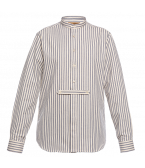 "Blue striped men's shirt ""Shelby"" from Lena Hoschek with stand-up collar and full-length button placket"