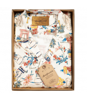Lena Hoschek men's bowling shirt in a vintage style with pastel-colour print