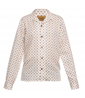 Long-sleeved men's shirt from Lena Hoschek in white with graphic details