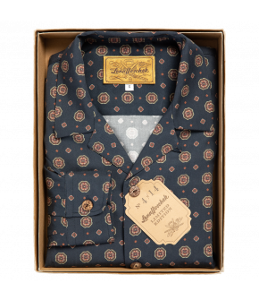 Limited Lena Hoschek men's shirt in dark blue with colourful details